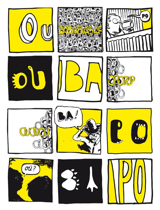 visuel de l'exposition OuBaPo à la médiathèque Pierre Bayle, par l'ERBA
