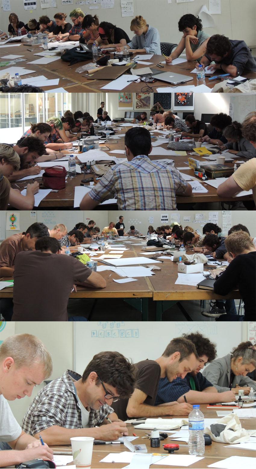 Les auteurs et étudiants en pleine action pendant l'Exercice des 20 minutes.