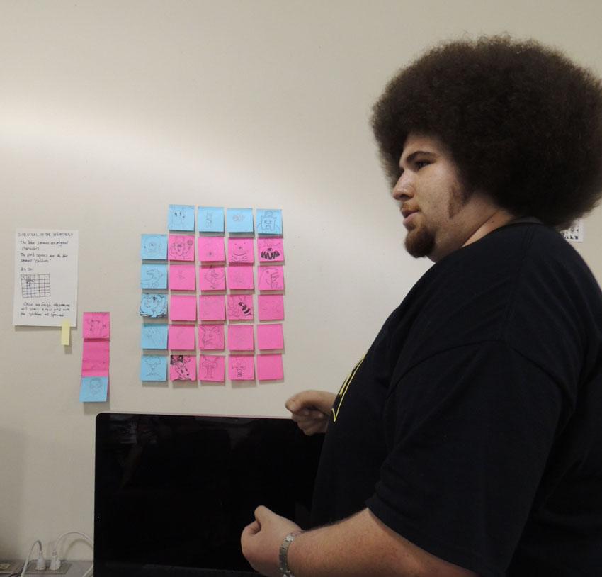 Jacob Ealy, étudiant à MCAD explique l'exercice
